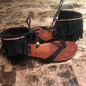 Mia Native Suede Fringe Boho Beaded Thong Sandals
